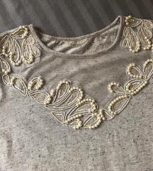 GUESS siva majica kratki rukav perlice