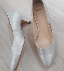 Nenošene srebrne štikle cipele 39 za vjenčanje