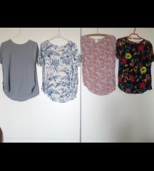 H&M 4 bluzice siva i cvjetne za M,L sve 120+pt