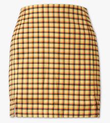 Karirana žuta suknja s prorezima