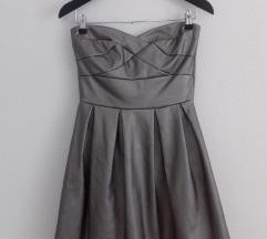 kožna siva haljina