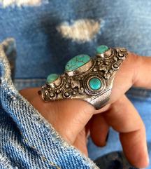Vintage boho prsten tirkiz