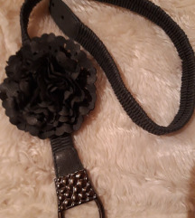 Remen modro/sivi sa cvijet ukrasom