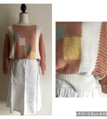 Vintage končana vesta i lanena suknja