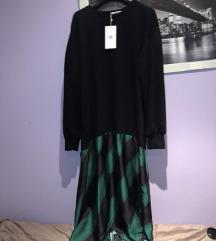 %%% Zara crna sweat haljina karirana zelena M 38