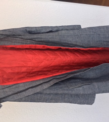 Podstavljena mekana duga jeans jakna