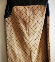 Kožnata suknja, visoki struk, prava koža