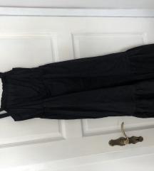 Midi crna haljina na volane