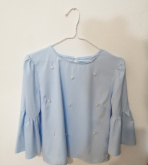 plava bluza s perlicama