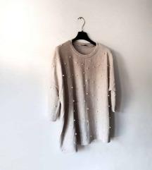 Bež pulover sa perlicama ZARA