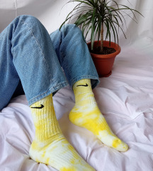 Nike žute čarape ručno bojane tie dye