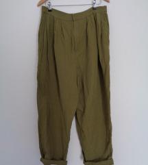 Ležerne lanene H&M hlače visokog struka