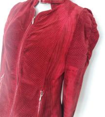 IUV crvena kožna jakna vel 38