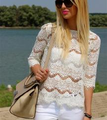 ZARA cipkasta bijela majica