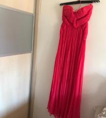 Mango ružičasta maxi haljina
