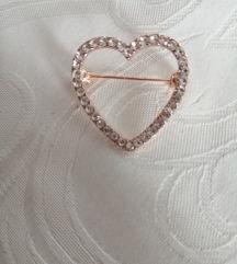 Srce rose gold & cirkoni