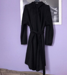 Zara crni kaput dugi vuneni wrap L 40