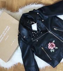 ZARA floral kozna jakna