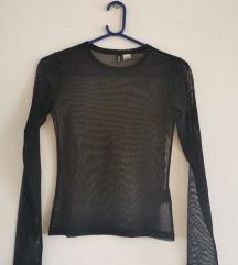 Crna prozirna mesh majica