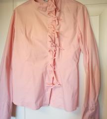 Roza košulja na mašnice