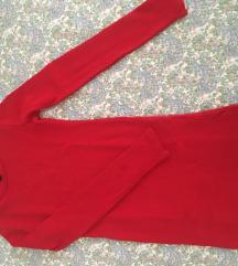 Zara uska crvena haljina s dugim rukavima