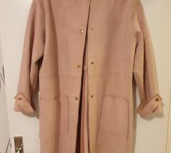 Zara puder roza duža prijelazna jakna brušena koža