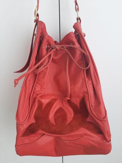 Crvena vintage KOŽNA bucket torba