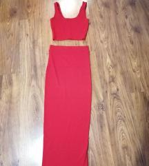 Crveni set duga suknja+top i poklon