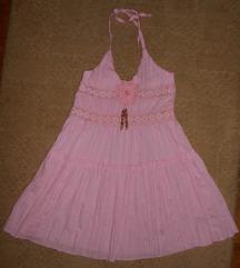 roza pamučna tunika/haljina
