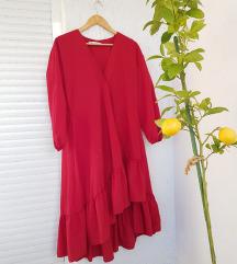 ZARA crvena midi asimetrična haljina s volanima