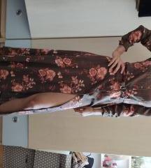 Duga haljina/košulja na vezanje u struku