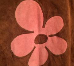 Kožna jakna sa aplikacijom brušena koža
