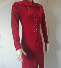 Crvena haljina od pliša - baršuna,br S- M