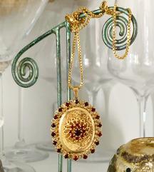 antikna ogrlica  - 14k zlato i granati