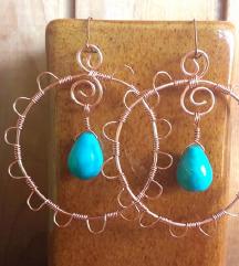 Naušnice od žice i tirkiza