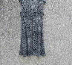 H&M crno-bijela svilenkasta haljina L