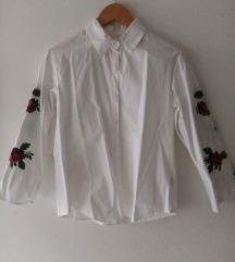 Bijela košulja sa vezom ruža, s