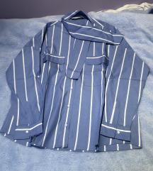Zara prugasta plava košulja s mašnicom XS