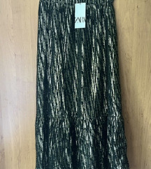 Nova Zara maxi crno - zlatna suknja s etiketom
