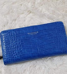 Plavi veliki novčanik-zmijski uzorak