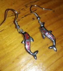 Posrebrene naušnice crveni fire opal