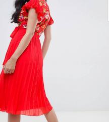 Asos midi plisirana haljina embroidery vezena nova
