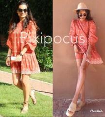 Zara koraljna izvezena haljina mini L