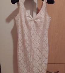 Uska bijela čipkasta haljina Pull & Bear