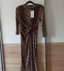 Bershka uska midi haljina leopard print s etiketom
