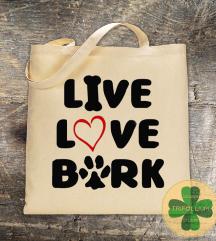 Eko Torba / Tote Bag / Live, Love, Bark