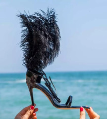 Crne sandale s perjem (like YSL)
