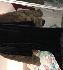 Crna maxi pliš suknja