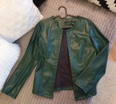 Zelena kožna strukirana jakna