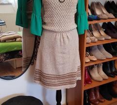 Review bež pletena haljina od 80% vune